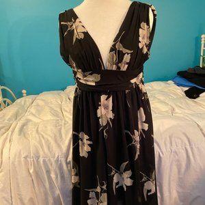 Lulus Black Floral Midi Dress